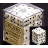 Chessex Tärningar 36st D6 12mm Ivory /w Black