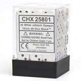 Chessex Tärningar 36st D6 12mm White w/Black