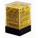 Chessex Tärningar 36st D6 12mm Yellow /w Black
