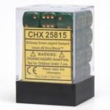 Chessex Tärningar 36st D6 12mm Dusty Green w/copper