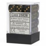 Chessex Tärningar 36st D6 12mm Black /w Gold