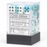 Chessex Tärningar 36st D6 12mm White-Teal w/black