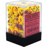 Chessex Tärningar 36st D6 12mm Red-Yellow w/silver