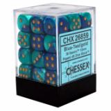 Chessex Tärningar 36st D6 12mm Blue-Teal w/gold