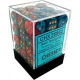 Chessex Tärningar 36st D6 12mm Red-Teal with gold