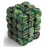 Chessex Tärningar 36st D6 12mm Scarab Jade w/gold