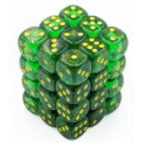 Chessex Tärningar 36st D6 12mm Borealis Maple Green/yellow