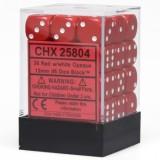 Chessex Tärningar 36st D6 12mm Red w/white