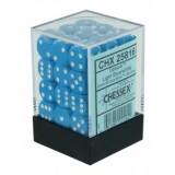 Chessex Tärningar 36st D6 12mm Light Blue /w White