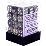 Chessex Tärningar 36st D6 12mm Purple-Steel w/white