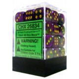 Chessex Tärningar 36st D6 12mm Green-Purple w/gold