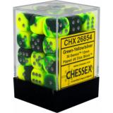 Chessex Tärningar 36st D6 12mm Green-Yellow w/silver