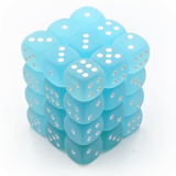 Chessex Tärningar 36st D6 12mm Frosted Teal w/white