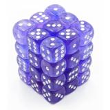 Chessex Tärningar 36st D6 12mm Borealis Purple w/white