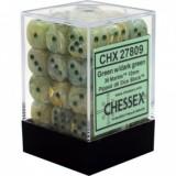 Chessex Tärningar 36st D6 12mm Marble Green w/dark green