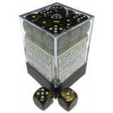 Chessex Tärningar 36st D6 12mm Leaf Black Gold w/silver