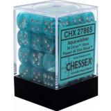 Chessex Tärningar 36st D6 12mm Cirrus Aqua w/silver