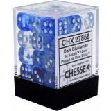 Chessex Tärningar 36st D6 12mm Nebula Dark Blue w/white
