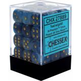 Chessex Tärningar 36st D6 12mm Phantom Teal w/gold