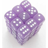 Chessex Tärningar 36st D6 12mm Frosted Polyheral Purple/white