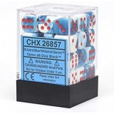 Chessex Tärningar 36st D6 12mm Astral Blue-White w/red