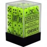Chessex Tärningar 36st D6 12mm Vortex Bright Green w/black
