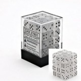 Chessex Tärningar 36st D6 12mm Frosted Clear w/black