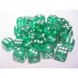 Chessex Tärningar 36st D6 12mm Green /w White