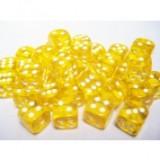 Chessex Tärningar 36st D6 12mm Yellow /w White