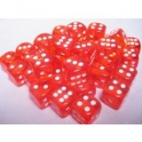 Chessex Tärningar 36st D6 12mm Orange /w White
