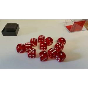 Chessex Tärningar 12st D6 16mm Red /w White