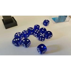 Chessex Tärningar 12st D6 16mm Blue /w White
