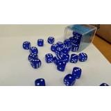 Chessex Tärningar 36st D6 12mm Blue /w White