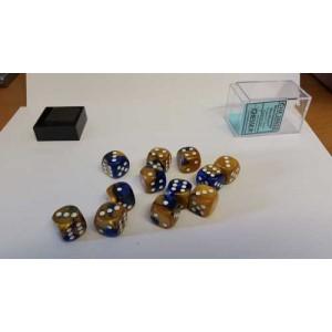 Chessex Tärningar 12st D6 16mm Blue Gold /w White