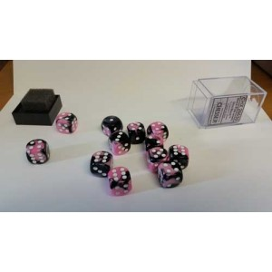 Chessex Tärningar 12st D6 16mm Black Pink /w White