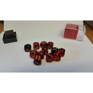 Chessex Tärningar 12st D6 16mm Black Red /w Gold