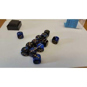 Chessex Tärningar 12st D6 16mm Black Blue /w Gold