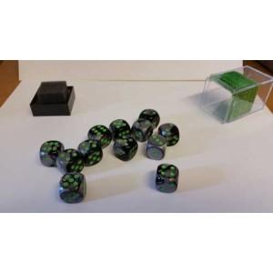 Chessex Tärningar 12st D6 16mm Black Grey /w Green