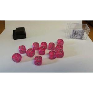 Chessex Tärningar 12st D6 16mm Pink /w Silver