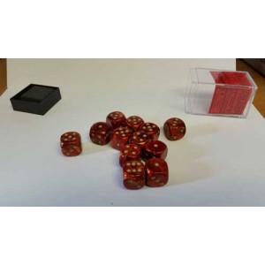 Chessex Tärningar 12st D6 16mm Scarlet /w Gold