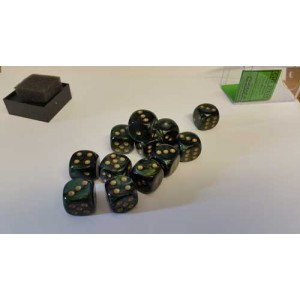 Chessex Tärningar 12st D6 16mm Black /w White