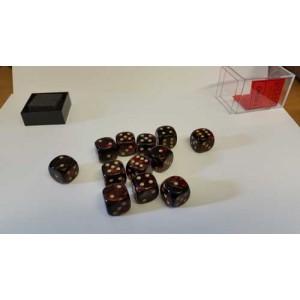 Chessex Tärningar 12st D6 16mm Blue Blood /w Gold