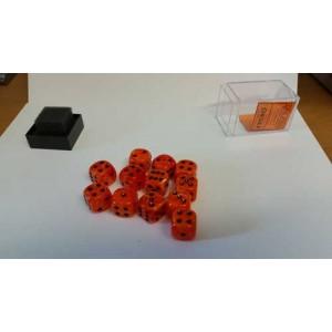 Chessex Tärningar 12st D6 16mm Orange /w Black