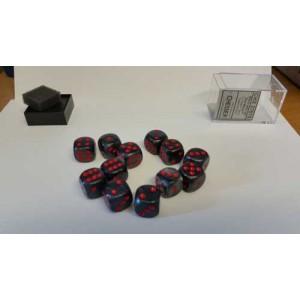 Chessex Tärningar 12st D6 16mm Black /w Red