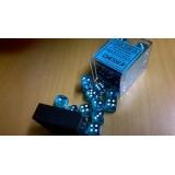 Chessex Tärningar 36st D6 12mm Teal w white